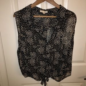 Ill sheer tie front and back blouse 3XL